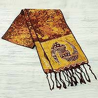 Cotton batik scarf, 'Golden Gye Nyame' - Signed Ghanaian Batik Adinkra Scarf in Brown and Gold