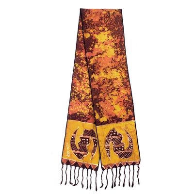 Cotton batik scarf, 'Golden Gye Nyame' - Signed Ghanaian Batik Adinkra Scarf in Brown and Gold