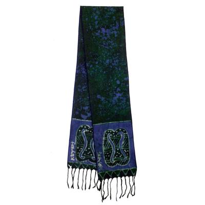 Cotton batik scarf, 'Blue Unity Chain' - Signed Blue Batik Adinkra Scarf Handcrafted in Ghana
