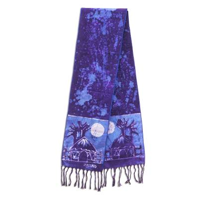 Cotton batik shawl, 'Blue Moonlight Village' - Artisan Crafted Signed Blue Batik Shawl from Ghana
