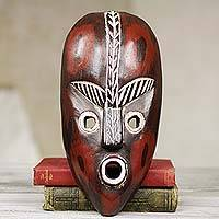 African wood mask, 'Big Town' - African Wall Mask from Ghana Carved ad Painted by Hand