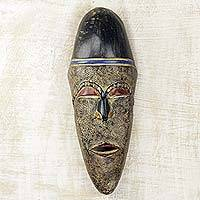 African wood mask, 'Spiritual Leader' - Handcrafted African Mask in Wood with Marbled Color