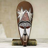 African wood mask, 'My Stars' - Hand Carved African Mask with Repousse Accents