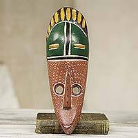 African wood mask, 'A Winner' - Handcrafted Brown and Green African Mask from Ghana