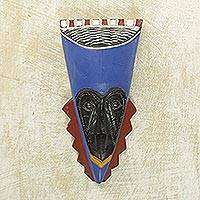 African wood mask, 'A Wealthy Man' - Brass Inlay Blue African Mask Hand Carved of Wood