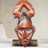 African wood mask, 'Cry for Victory' - Three-Headed African Mask Carved by Hand in Ghana