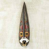 African wood mask, 'Helper King' - Brown and Black Long African Wall Mask from Ghana
