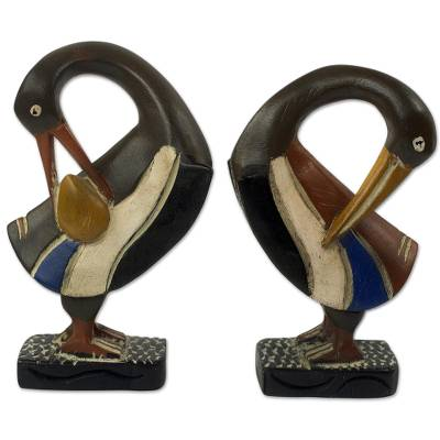 Wood sculptures, 'Ghanaian Sankofa Birds' (pair) - Ghanaian Sankofa Bird Wood Sculptures (Pair)