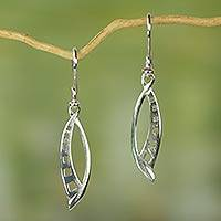 Sterling silver dangle earrings, 'Yaa Asantewaa' - Sterling Silver Dangle Earrings with Square Cut Outs