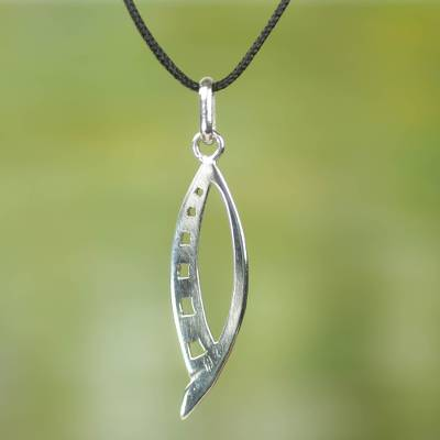 Sterling silver pendant necklace, 'Queen Yaa Asantewaa' - Artisan Crafted Sterling Silver Necklace from West Africa