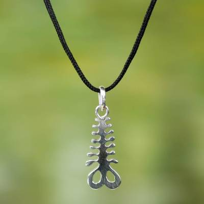 Sterling silver pendant necklace 'Aya' - Sterling Silver Pendant Necklace with Adinkra Symbol of Fern