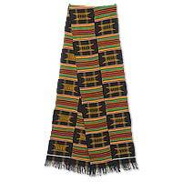 Cotton blend kente cloth scarf, 'Sika Gua' (10 inch width) - African Kente Cloth Scarf Handmade in Ghana (10 Inch Width)