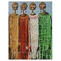 'Fashion Ladies' - Original Acrylic Painting Portrait of Four Women from Ghana