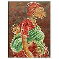 'Motherly Care' - Original Acrylic Portrait of Mother and Child on Canvas