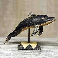 Wood sculpture, 'Dolphin Prince' - Hand Carved Rustic Wood Dolphin Sculpture from West Africa