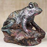 Ceramic sculpture, 'Sitting Frog' - Original Ghanaian Painted Ceramic Frog Sculpture