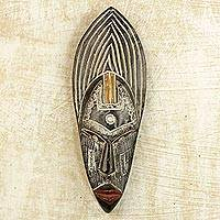 African wood mask, 'Saida Luck' - Handcrafted Wood and Aluminum African Mask from Ghana