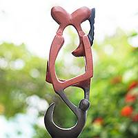 Wood sculpture, 'Soyaya' - Artisan Handmade African Sese Wood Sculpture Lovers Kissing
