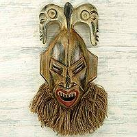 African wood mask, 'Senufo Presence' - Ornate Senufo Wall Mask Artisan Crafted African Tribe Art