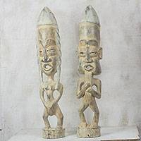 Wood statuettes, 'Awarefoo' (pair) - Pair of Male and Female Handmade Wood Statuettes from Ghana