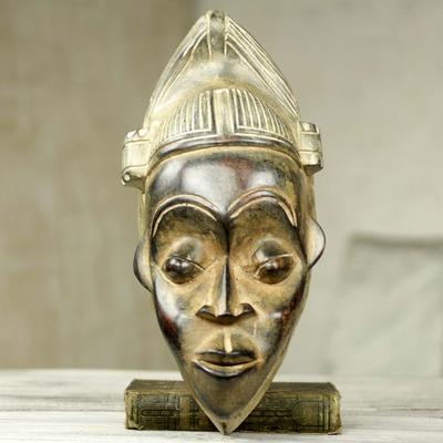 African Wall Mask Of Akan Man Hand Carved Wood Art Kwadwo