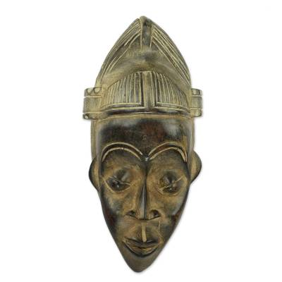 African Wall Mask of Akan Man Hand Carved Wood Art
