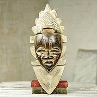 African wood mask, 'Festac Queen Idia' - Antiqued African Wood Mask of Queen Idia Nigeria Festac