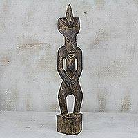 Wood sculpture, 'Senufo Elder' - Hand Carved Sese Wood and Ceramic Sculpture from Ghana