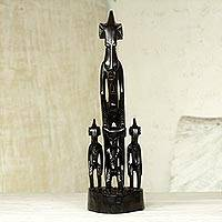 African wood sculpture, 'Senufo Family II' - Hand Carved African Wood Sculpture of Senufo Family