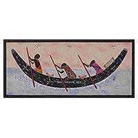 Cotton batik wall art, 'The Lost Fishermen' - Framed Oil Painting on Cotton and Batik Cloth from Ghana