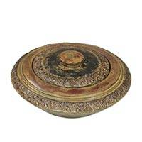 Wood decorative lidded bowl, 'Esi' - Unique Decorative African Wood Bowl with Lid