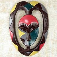 African wood mask, 'Kwele Mask II' - African Protective Wood Wall Mask Heart Shaped Kwele Art
