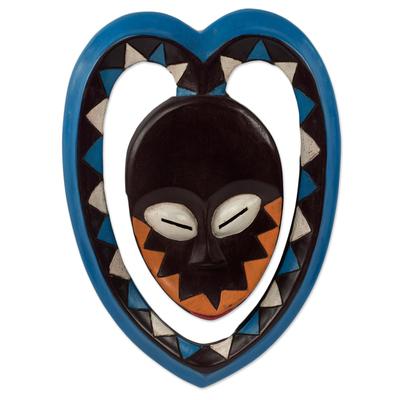 African Art Heart Shaped Kwele Protective Handmade Wood Mask