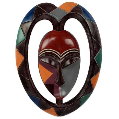 African wood mask, 'Kwele Mask III' - Heart Shaped Kwele Protective Wood Mask Handmade African Art