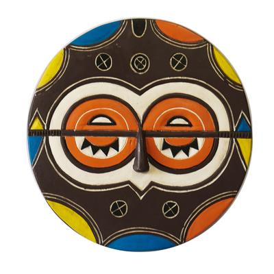 African wood mask, 'Kidumu Society' - Artisan Crafted Colorful Teke-Tsaye African Mask