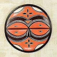 African wood mask, 'Teke-Tsaye Ritual' - Circular Orange African Mask Carved by Hand in Ghana
