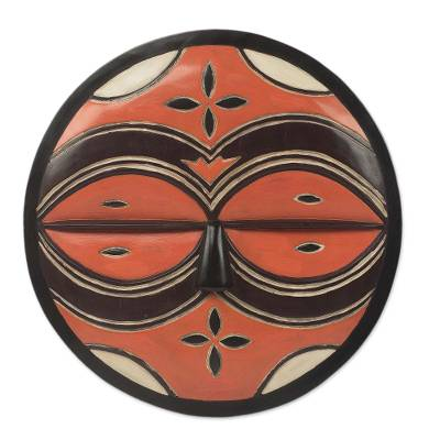 Circular Orange African Mask Carved by Hand in Ghana