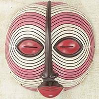 Sese wood mask, 'Baluba Dance Spirit I' - African Dance Spirit Wall Mask Artisan Crafted Wood Art
