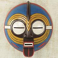 Sese wood mask, 'Baluba Dance Spirit II' - African Dance Spirit Wall Mask Artisan Crafted Wood Art