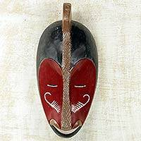 African wood mask, 'Baule Art II' - Baule Tribe Red African Wood Wall Mask Carved by Hand