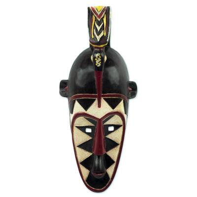 African wood mask, 'Senufo Order' - Artisan Crafted Senufo Replica African Wall Wood Mask