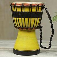 Wood mini-djembe drum, 'Yellow Invitation to Peace' - Artisan Crafted West African Decorative Djembe Yellow Drum