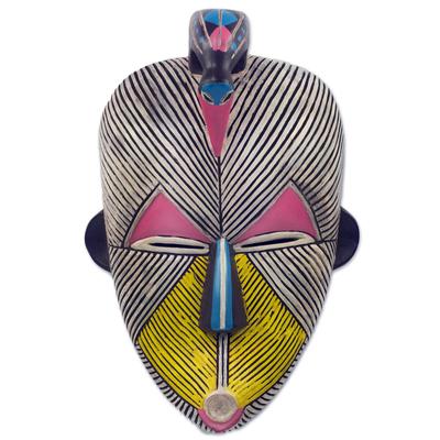 Unicef market african protection spirit wall mask artisan crafted wood art songye kwifibe