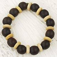 Wood stretch bracelet, 'Break Free' - Handcrafted Stretch Bracelet with Wood Beads