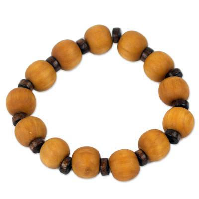 Handcrafted Stretch Bracelet with Wood Beads
