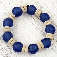 Recycled glass and wood stretch bracelet, 'Accra Blue' - Blue Beaded Stretch Bracelet with Recycled Glass and Wood