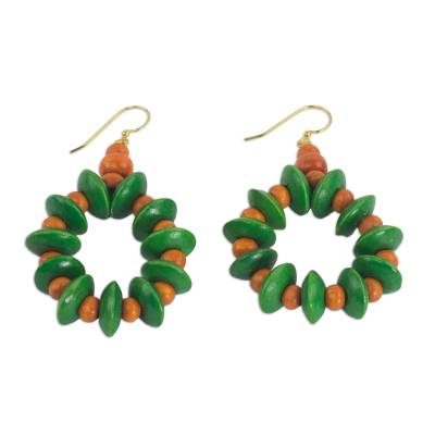 Wood beaded earrings, 'Summer Fun' - Dangle Earrings with Green and Orange Wood Beads