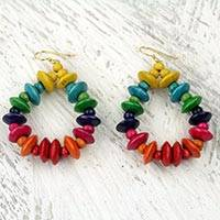 Wood dangle earrings, 'Joyous Celebration' - Colorful Fair Trade Beaded Wood Dangle Earrings from Ghana