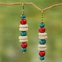 Wood dangle earrings, 'Cascade of Color' - Red and Green Accent Beaded Wood Dangle Earrings
