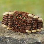 Eco Friendly Ghana Artisan Crafted Wood Stretch Bracelet, 'Kumasi Blossom'